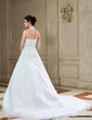 A-Line/Princess Halter Chapel Train Satin Organza Wedding Dress With Beading Appliques Lace Sequins (002000392)