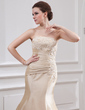 Trumpet/Mermaid Strapless Court Train Taffeta Wedding Dress With Ruffle Lace Beading (002000059)