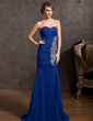 Trumpet/Mermaid Sweetheart Court Train Chiffon Evening Dress With Ruffle Beading Split Front (017014865)