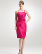 Sheath/Column Scoop Neck Knee-Length Taffeta Mother of the Bride Dress With Ruffle Flower(s) (008006525)