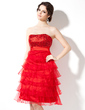Empire Sweetheart Knee-Length Organza Sequined Homecoming Dress With Cascading Ruffles (022020762)