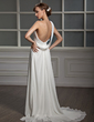 A-Line/Princess One-Shoulder Court Train Chiffon Wedding Dress With Ruffle Lace Beading Sequins (002011390)