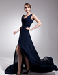 Trumpet/Mermaid Cowl Neck Court Train Chiffon Mother of the Bride Dress With Ruffle Split Front (008014558)