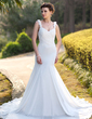 Trumpet/Mermaid Sweetheart Chapel Train Chiffon Wedding Dress With Ruffle Beading (002012746)