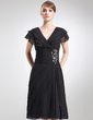 A-Line/Princess V-neck Knee-Length Chiffon Mother of the Bride Dress With Beading Cascading Ruffles (008006041)
