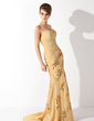 A-Line/Princess Sweetheart Sweep Train Chiffon Prom Dress With Ruffle Beading Appliques Lace Split Front (018013894)
