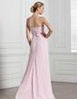 Yüksek Bel Kalp Kesimli Uzun Etekli Chiffon Gece Elbisesi Ile Büzgü (017005269)