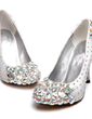 Women's Satin Cone Heel Closed Toe Pumps With Rhinestone Crystal Heel (047031202)
