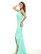 Sheath/Column One-Shoulder Asymmetrical Chiffon Prom Dress With Ruffle Beading (018016094)