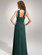 Sheath/Column V-neck Floor-Length Chiffon Evening Dress With Ruffle Beading (017002609)