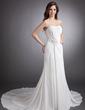 A-Line/Princess Sweetheart Chapel Train Chiffon Wedding Dress With Ruffle Beading Appliques Lace (002011495)