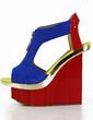 Patent Leather Wedge Heel Sandals Platform Wedges Peep Toe Slingbacks With Zipper Split Joint shoes (087026664)