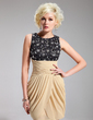 Sheath/Column Scoop Neck Short/Mini Chiffon Lace Cocktail Dress With Ruffle Beading Sequins (016019711)