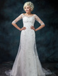 Trumpet/Mermaid Off-the-Shoulder Court Train Satin Organza Wedding Dress With Beading Appliques Lace (002012573)