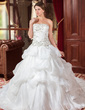 Ball-Gown Strapless Cathedral Train Organza Wedding Dress With Embroidered Ruffle Beading Sequins (002012744)