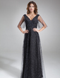 Empire V-neck Floor-Length Tulle Mother of the Bride Dress (008006413)
