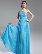 A-Line/Princess One-Shoulder Floor-Length Chiffon Mother of the Bride Dress With Beading Pleated (008015087)
