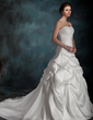 Ball-Gown Sweetheart Chapel Train Taffeta Wedding Dress With Ruffle Bow(s) (002000097)