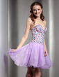 A-Line/Princess Sweetheart Short/Mini Organza Homecoming Dress With Ruffle Beading (022008128)