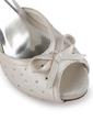 Satyna Obcas Stożkowy Z Odkrytym Palcem Buty na Platformie Sandały Buty Ślubne Z Kokarda Klamra Kryształ (047005364)