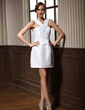 Sheath/Column V-neck Short/Mini Taffeta Cocktail Dress With Ruffle (016008494)
