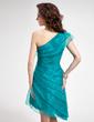 Linia A/Księżniczka Jednoramienna Asymetryczna Organza Sukienka na Zjazd Absolwentów Z Żabot Perełki (022010313)