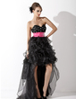 A-Line/Princess Sweetheart Asymmetrical Organza Prom Dress With Sash Beading Cascading Ruffles (018021095)
