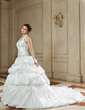 Ball-Gown Halter Chapel Train Taffeta Wedding Dress With Embroidered Ruffle Beading Sequins (002011436)