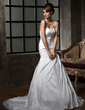 A-Line/Princess Halter Court Train Taffeta Wedding Dress With Ruffle Beading Sequins (002011410)