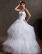 Ball-Gown Sweetheart Floor-Length Satin Organza Tulle Wedding Dress With Embroidered Beading (002014871)