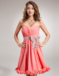 A-Line/Princess Sweetheart Knee-Length Chiffon Homecoming Dress With Ruffle Sequins Bow(s) (022010536)