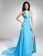 Çan/Prenses Yular Watteau Kuyruk Chiffon Gece Elbisesi (017014893)