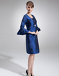 Sheath/Column Square Neckline Knee-Length Taffeta Mother of the Bride Dress With Ruffle Beading (008006074)