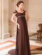 A-Line/Princess Off-the-Shoulder Sweep Train Chiffon Chiffon Maternity Bridesmaid Dress With Ruffle Beading (008024442)