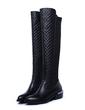 Gerçek Deri Kalın Topuk Diz Yüksek Boots Boots Binme ayakkabı (088057307)