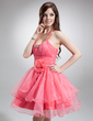 A-Line/Princess Halter Short/Mini Organza Homecoming Dress With Ruffle Beading Flower(s) (022021050)