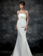 Trumpet/Mermaid Sweetheart Court Train Satin Wedding Dress With Ruffle Beading (002011621)