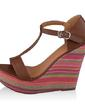 Leatherette Wedge Heel Sandals With Split Joint shoes (087033611)