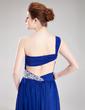 A-Line/Princess One-Shoulder Watteau Train Chiffon Prom Dress With Ruffle Beading (018019109)