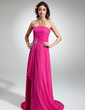 A-Line/Princess Strapless Sweep Train Chiffon Bridesmaid Dress With Beading Appliques Lace Cascading Ruffles (007001752)