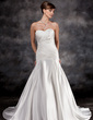 Trumpet/Mermaid Sweetheart Court Train Charmeuse Wedding Dress With Ruffle Appliques Lace (002016928)