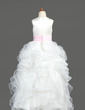 Ball Gown Floor-length Flower Girl Dress - Organza/Satin Sleeveless Scoop Neck With Ruffles/Sash (010005799)