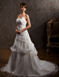 A-Line/Princess Strapless Chapel Train Satin Organza Wedding Dress With Ruffle Appliques Lace Flower(s) (002000647)
