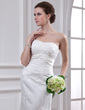 Trumpet/Mermaid Sweetheart Chapel Train Satin Wedding Dress With Beading Appliques Lace (002000186)