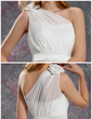 Sheath/Column One-Shoulder Knee-Length Chiffon Lace Bridesmaid Dress With Ruffle Flower(s) (007019625)