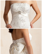 Sheath/Column Sweetheart Asymmetrical Detachable Satin Wedding Dress With Beading Crystal Brooch Sequins Bow(s) (002012842)