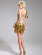 Sheath/Column One-Shoulder Short/Mini Chiffon Cocktail Dress With Beading Sequins (016019136)