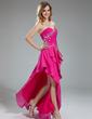 A-Line/Princess Sweetheart Asymmetrical Chiffon Prom Dress With Beading Cascading Ruffles (018018916)
