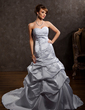 A-Line/Princess Sweetheart Chapel Train Satin Wedding Dress With Lace Beading (002012148)