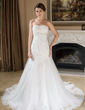 Trumpet/Mermaid Sweetheart Chapel Train Tulle Wedding Dress With Lace Beading Sequins (002000377)